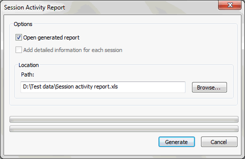 Session Activity Report The Session Activity report includes general information on the user activity in the session currently opened in the Player pane.
