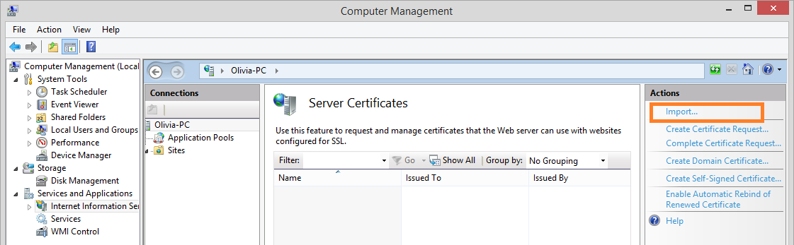 1. In the Internet Information Service Manager, on the Server Certificates pane, select the generated certificate and click Export on the Actions pane or in the certificate right-click menu. 2.