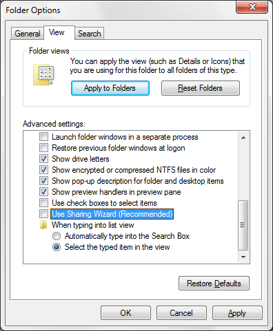 Disabling Sharing Wizard in Windows 7, Windows 8 and Windows 8.1 To disable the Sharing wizard in Windows 7 and Windows 8/8.1, do the following: 1.