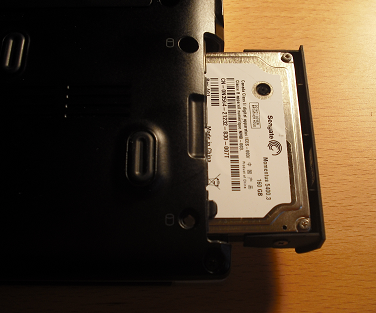 2) Look for the hard drive slot on the bottom of your laptop.