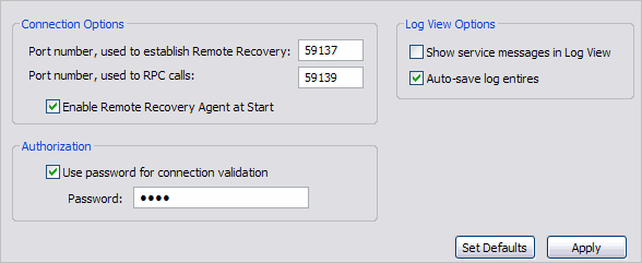 Connection options REMOTE RECOVERY OPTIONS The Active@ Remote Recovery Agent allow specifying following settings: CONNECTION OPTIONS Port Number The number of the communication port reserved for the