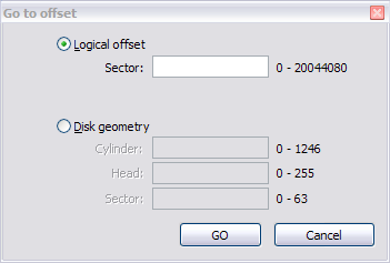Hex Editor Go to Offset Dialog Box for a Physical Disk 2. To jump to an exact sector (address) offset, select Logical offset and enter the exact sector value in the Sector field. 3.