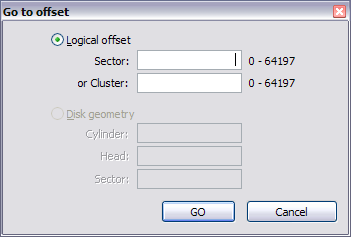 Subject Navigation and Information Go to Offset Dialog Box for a Logical Drive 2. To jump to an exact offset, select Logical Offset and enter the exact value in sectors or clusters.