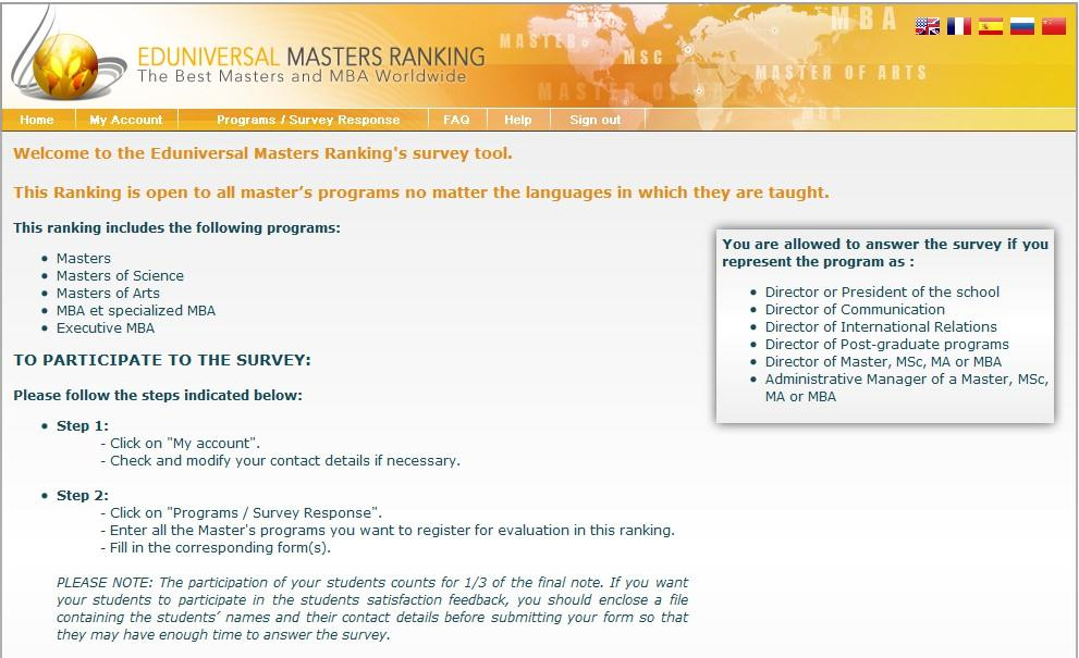 2.2.1. Academic institutions survey Eduniversal Masters Ranking survey provides an international platform for the schools all over the world to participate in the survey.