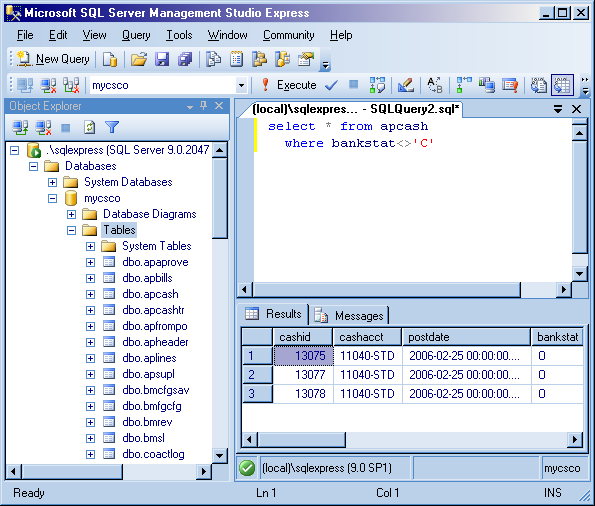 Example of the Object Explorer s Edit feature Example