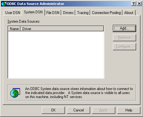 Example of using the SQLCmdEx Utility to select items from the inventory table Adding the TIWSQL Data Source to ODBC 1. In Windows Control Panel or Administrative Tools run Data Sources (ODBC).