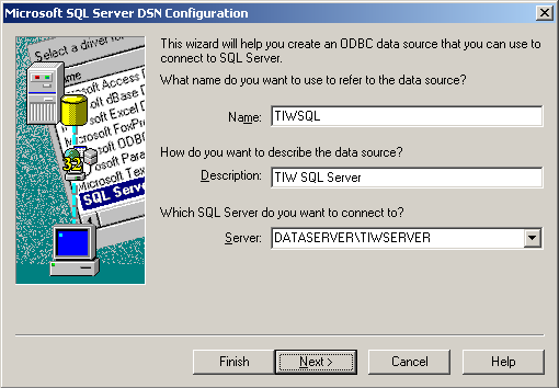 3. Select the SQL Server driver from the list and click the Finish button. 4.