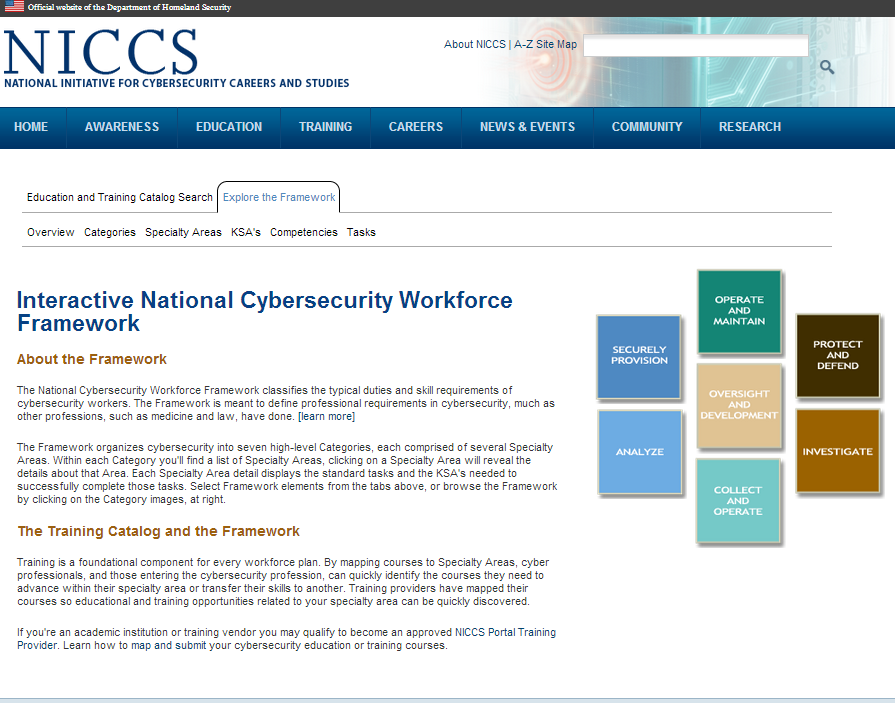 Navigating Training: Explore the Framework The Training tab will also allow users to explore the National Cybersecurity Workforce Framework.