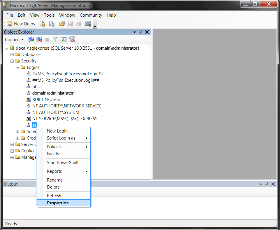 5. On the General page, select SQL Server Authentication.