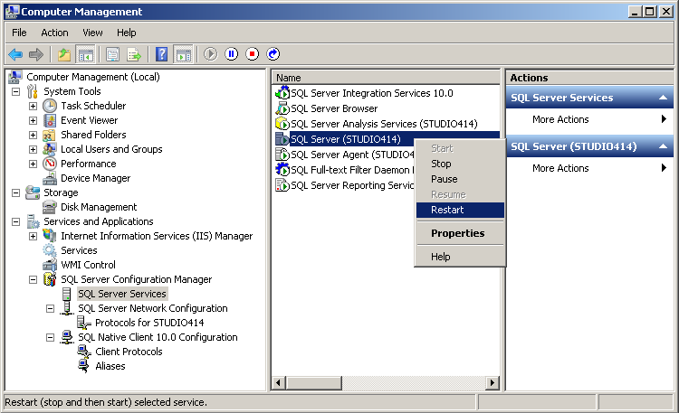 5. In the Computer Management tool, go to Services and Applications > SQL Server Configuration Manager >