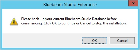 10. If this is an upgrade: a. A dialog box informing you that the existing database will be used appears. Click OK. b. A second dialog box suggesting that you back up your existing database before proceeding appears.