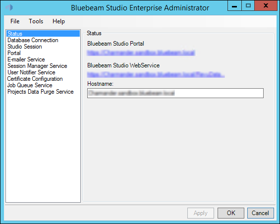 The Status tab allows Studio administrators to quickly access the Bluebeam Studio Portal and Web Service and change the Studio Enterprise Hostname (note that