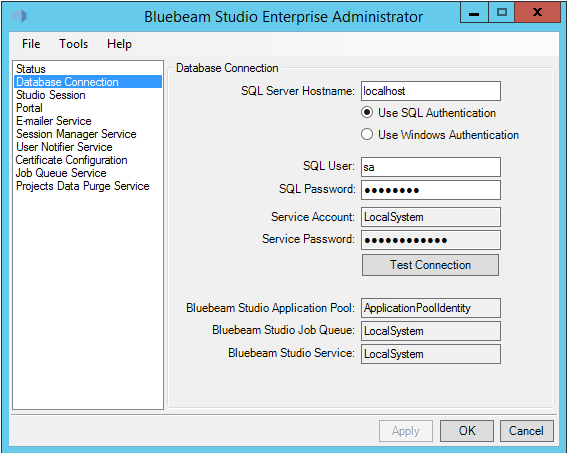 The Database Connection tab allows Studio administrators to change the database connection and authentication method used by Studio
