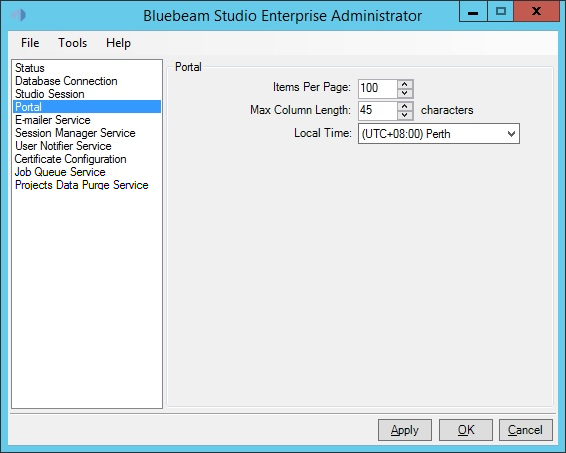 The Portal tab allows Studio administrators to modify settings that the Portal uses to display information.