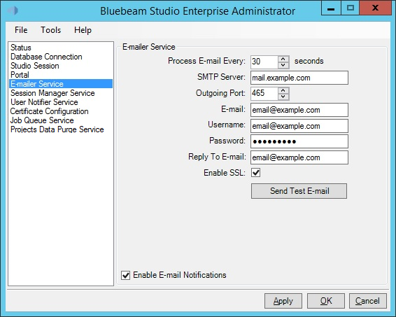 The E-mailer Service tab allows Studio administrators to specify the SMTP server
