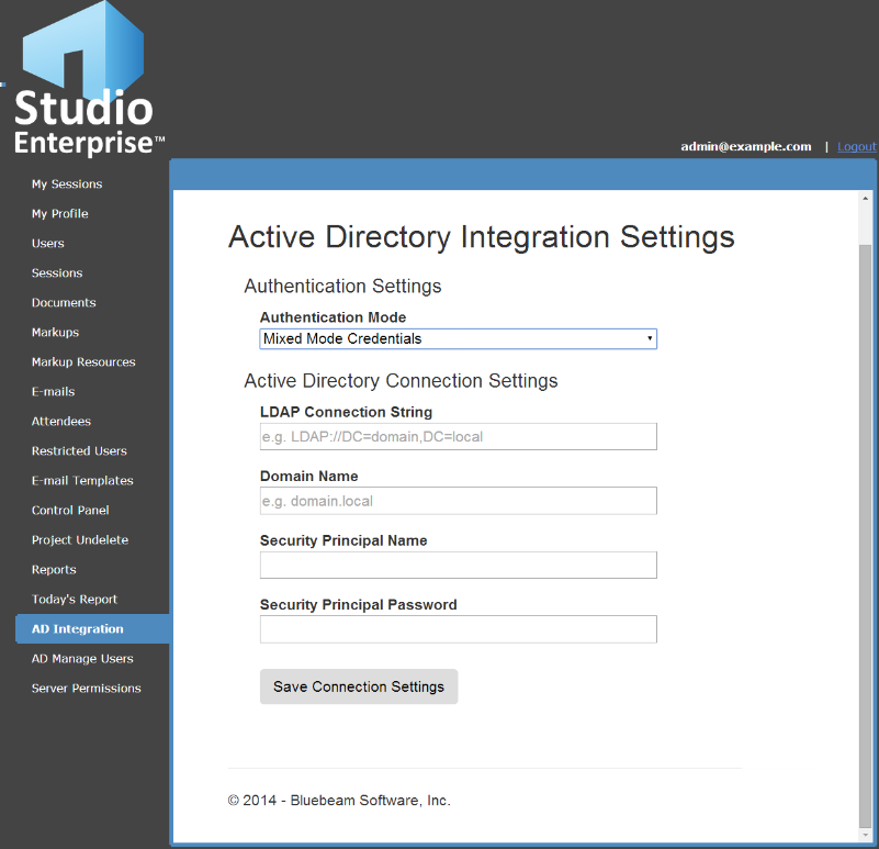 AD Integration The AD Integration tab allows the Studio administrators to integrate their Studio Enterprise with their Active Directory domain controller.