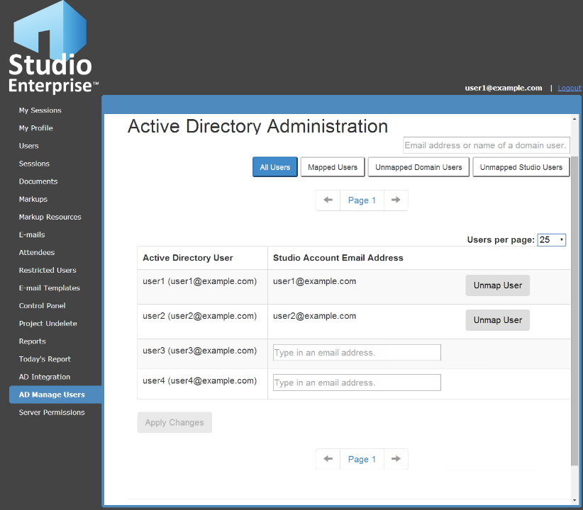 a. Mapping users automatically: Click Auto-Map Users to automatically map users to Active Directory accounts with matching email addresses.