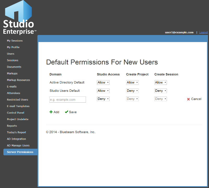 Server Permissions The Server Permissions tab allows the Studio administrators to set default permissions for new users by domain as well as for Active Directory users (when Studio Enterprise is