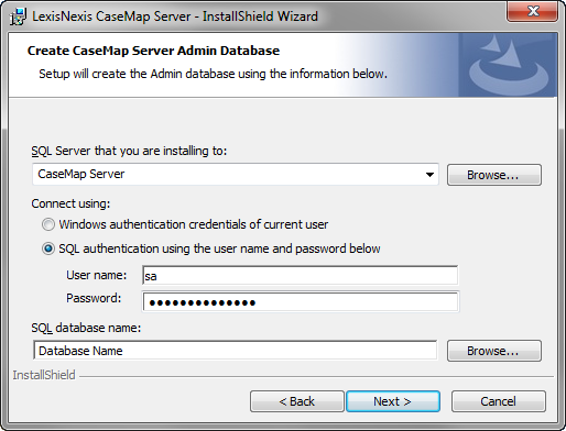 Installing CaseMap Server 23 11. In the SQL Server that you are install to field, type in the server name. 12. In the Connect using area, select the authentication type you are using: Windows or SQL.