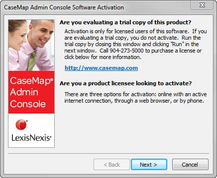 In the CaseMap Admin Console Software Activation dialog box, click Next to open the