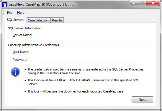 50 CaseMap Server When you are ready to migrate existing cases to the CaseMap Server, the LexisNexis CaseMap SQL Import Utility dialog box displays. See About migrating cases.