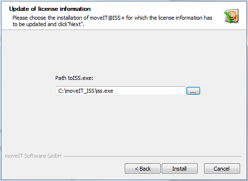 In the following window Update of license information insert the