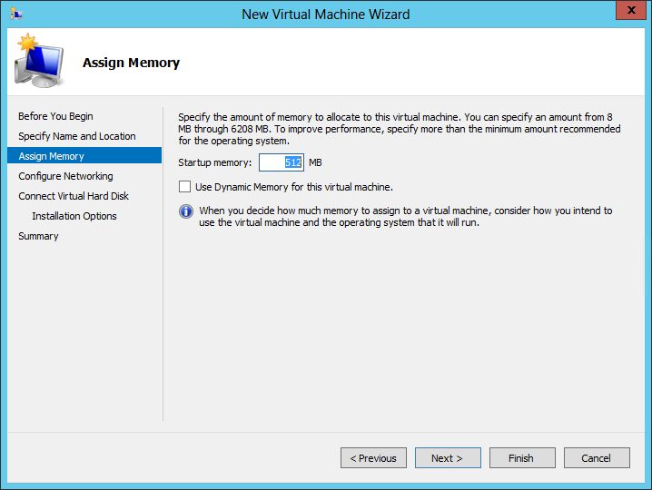 5. Assign the correct memory to the virtual machine (see specifics table above) and click Next. 6.