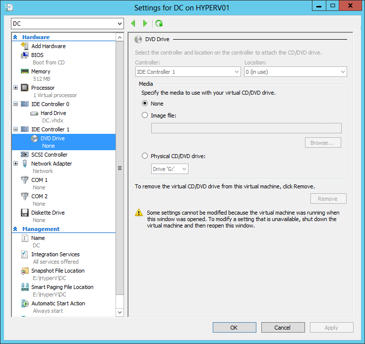 9. Click Finish. 10. In Hyper-V Manager, right-click the newly created virtual machine and select Settings. 11.