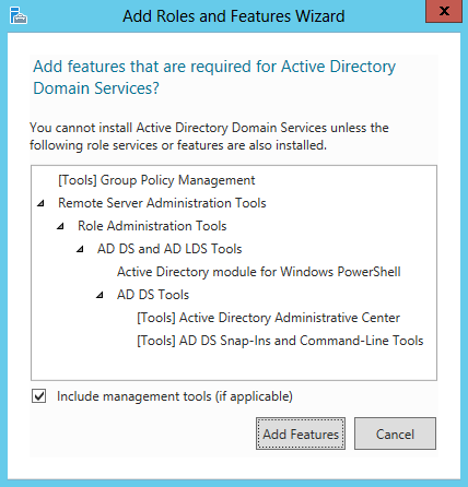 5. On the Server Roles screen, select Active Directory Domain Services and click Next. 6.