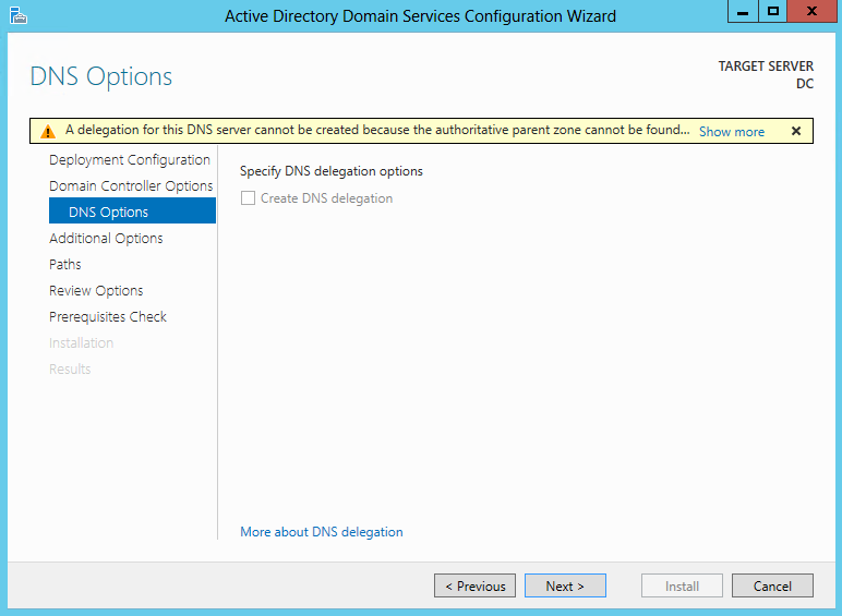 3. On the Domain Controller Options screen, leave the defaults and type in the DSRM password. Then click Next. 4.
