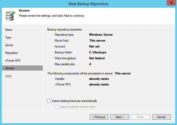 9. Leave the defaults in the Repository folder and click Next (for more information on these settings, read the Veeam Backup & Replication 6.5 User Guide, starting from p. 119). 10.