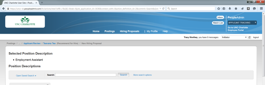 How to Create a Hiring Proposal 1 Click the candidate s name from the Applicants tab. 2 Click Start Hiring Proposal.
