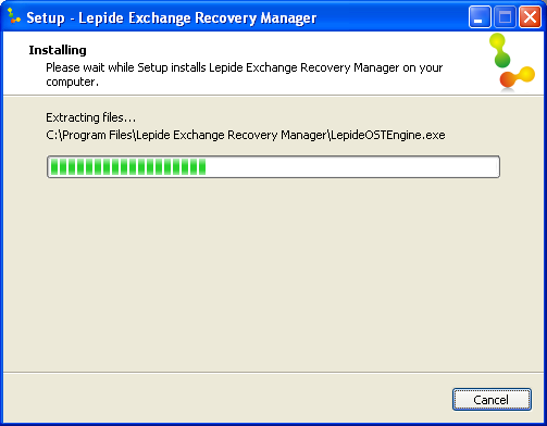 8. When the installation process completes, the message Completing the Lepide Exchange Recovery