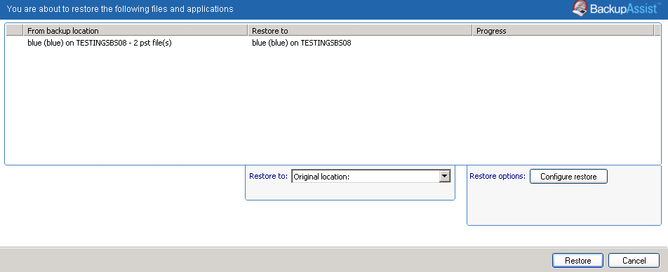 7. Restore Console restore destination selection When you select Restore to, a window will open showing the Restore to destination and the Restore options fields.