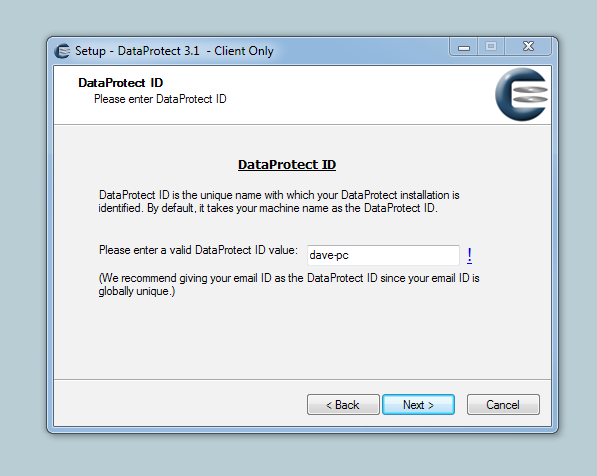 Installing Dataprotect software for a Typical User 1. Double clicking on the Installer.exe icon When you do this, you may see a security warning dialog box.