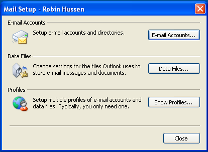 Windows XP / Vista Screenshots Click Start > Settings > Control Panel Double-click Mail.