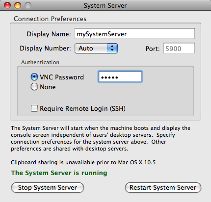 Server Controls V i n e S e r v e r M a n u a l 5 To start your desktop server, click the Start Server (or Restart Server) button on the bottom of the Server panel.