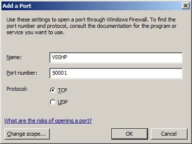 Figure 20: Windows Firewall Window 3. Click [Exceptions] tab and then click [Add port ]. 4. Specify Name and Port number. Port number should be the same value in the services file.