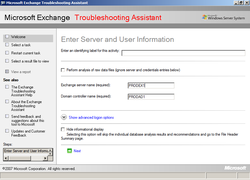 2. Click [Manage Recovery Storage Group]-[Create recovery storage group] to create the Recovery Storage Group. Figure 41: Troubleshooting Assistant Server and User Information Window 3.
