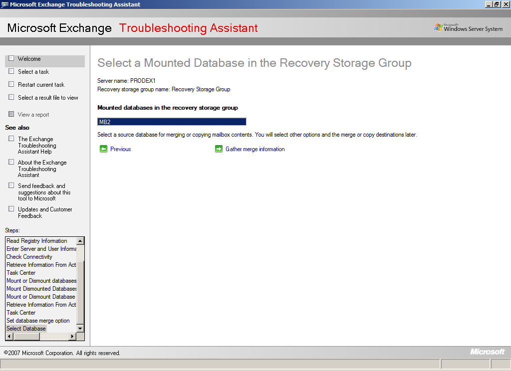 9. Select [Manage Recovery Storage Group]-[Merge or copy mailbox contents], and then merge the mailbox database.