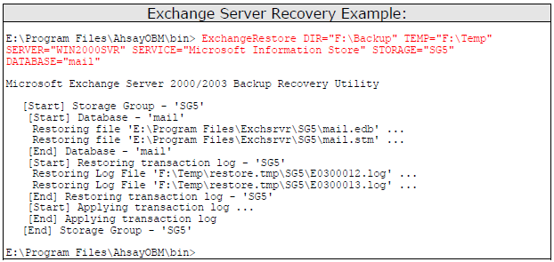 f. Repeat the same procedure for each database to be restored to the Exchange Server. g.
