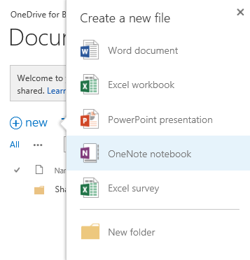 3 Save and Share Files in the Cloud with OneDrive for Business The OneDrive for Business (OneDrive @ Organization) page appears. In this example, the organization name is Microsoft.