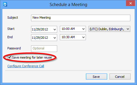 Meeting The My Meetings dialog This dialog contains your scheduled meetings with Subject, Start and Meeting ID. In addition, it provides the options described below.