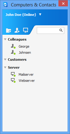 Computers & Contacts Managing Contacts 4 Computers & Contacts Managing Contacts In Computers & Contacts, you can centrally manage computer and contact data of TeamViewer connection partners.