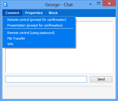 Computers & Contacts Managing Contacts Available chat window operations From within the chat window, you can execute the following options by clicking on the menu item: Chat window from which