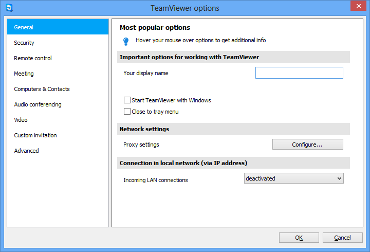 Options 7 Options To access options, click Extras Options in the TeamViewer main window. The TeamViewer options dialog box will open. On the left, you will see the categories described below. 7.1 Category General The General category includes some of the most common settings.