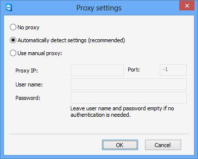 Options Network settings Proxy settings Click Configure... to open the Proxy Settings dialog box.