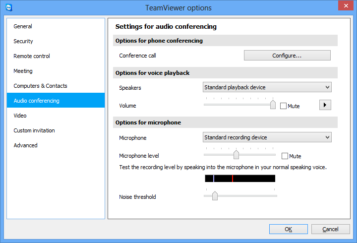 Options 7.6 Category Audio conferencing In the Audio conferencing category, you can configure and test the settings for your VoIP and conference call connections. Audio conferencing settings.