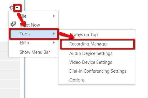 Manager, or if you miss that, click Tools on the Lync main window, then Recording Manager. TIP: Recordings are saved in the Videos/Lync Recordings folder on your computer. To play your recording: 1.