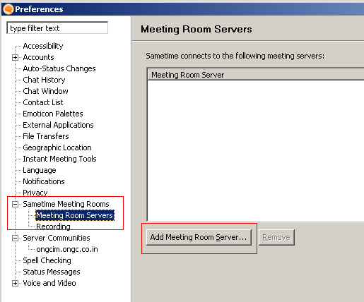 Expand Sametime Meeting Rooms Click Add Meeting Room Server Under